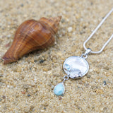 Coastal One of a Kind Necklace-Fish Pendant Necklace with Larimar Stone, Blue Topaz and Mother of Pearl Mosaic-Coastal Passion