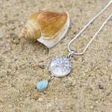 Coastal One of a Kind Necklace-Palm Tree Pendant Necklace with Swiss Blue Topaz, Mother of Pearl Mosaic and Larimar Stone-Coastal Passion