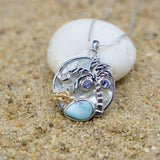 Coastal One of a Kind Necklace-Sea Turtle and Palm Tree Pendant Necklace with Larimar, Tanzanite and Mother of Pearl-Coastal Passion
