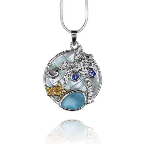 Sea turtle and palm tree , tanzanite , pear shape larimar ,mother of pearl pendant
