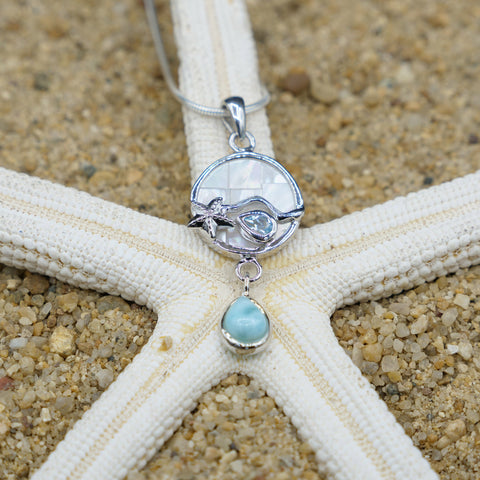 Coastal One of a Kind Necklace-Starfish Pendant Necklace with Blue Topaz, Mother of Pearl Mosaic and Larimar Stone-Coastal Passion