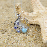 Coastal One of a Kind Necklace-Jellyfish Pendant Necklace with Larimar, Tanzanite and Mother of Pearl Mosaic-Coastal Passion
