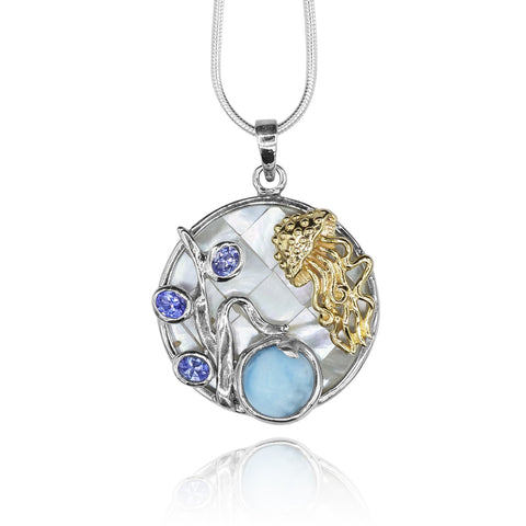 Larimar and genuine Tanzanite ,jelly fish , round mosaic Mother of pearl pendant .
