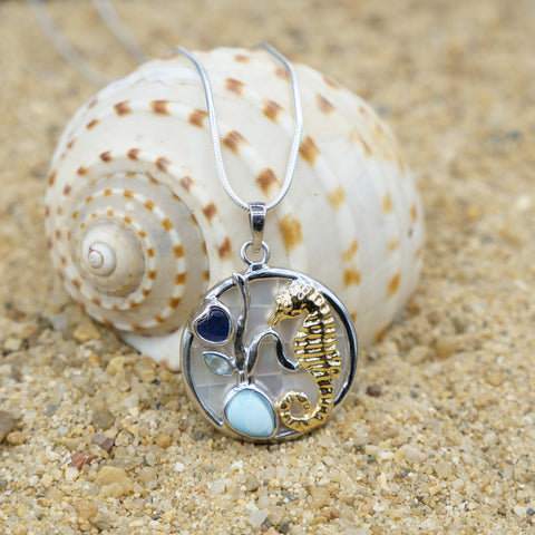 Coastal One of a Kind Necklace-Seahorse Pendant Necklace with Larimar, Blue Topaz, Blue Sapphire and Mother of Pearl Mosaic-Coastal Passion
