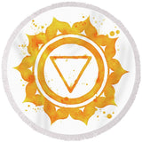 7 Chakras Fun Beach Towel Collection-Round Beach Towel-Manipura Chakra Round Beach Towel-Australian Coastal Passion