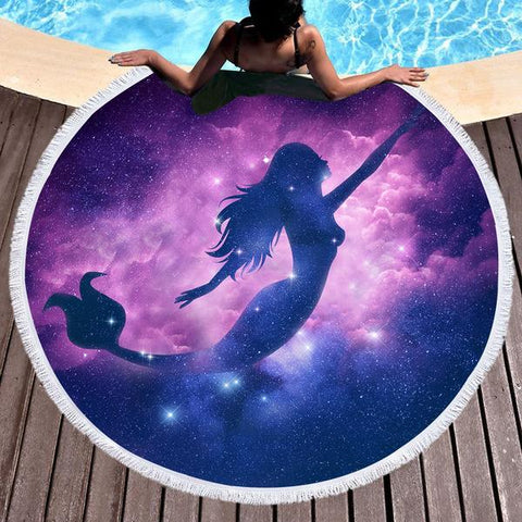 Coastal Round Beach Towel-Mermaid Magic Round Beach Towel-Coastal Passion