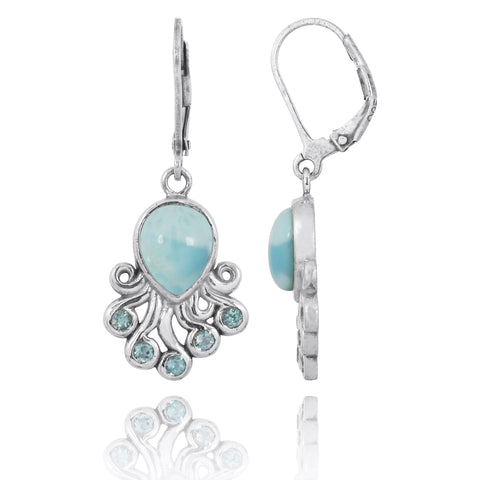 Coastal Earrings-Octopus with Larimar and Swiss Blue Topaz Lever Back Earrings-Coastal Passion