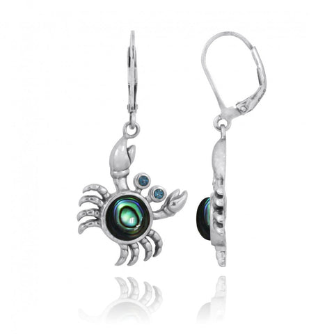 Coastal Earrings-Crab with Abalone shell and London Blue Topaz Lever Back Earrings-Coastal Passion