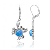 Coastal Earrings-Crab with Blue Opal and London Blue Topaz Lever Back Earrings-Coastal Passion
