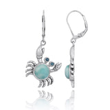 Coastal Earrings-Crab with Larimar and London Blue Topaz Lever Back Earrings-Coastal Passion