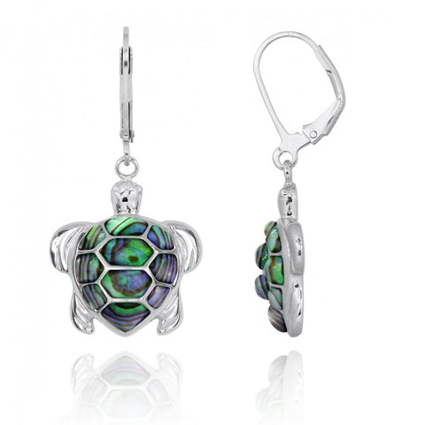 Coastal Earrings-Turtle with Abalone shell Lever Back Earrings-Coastal Passion