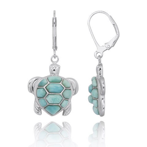Coastal Earrings-Turtle with Larimar Lever Back Earrings-Coastal Passion
