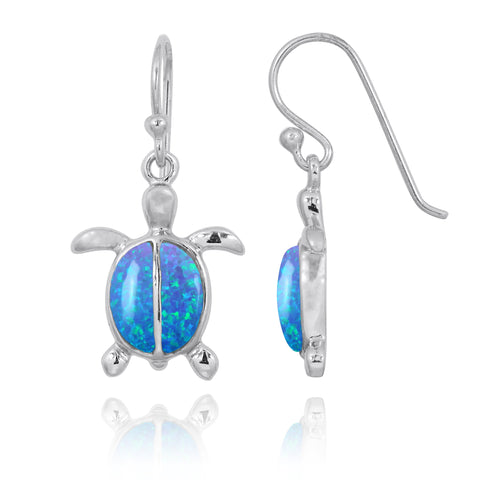 Coastal Earrings-Turtle French Wire Earrings with 2 Blue Opal Stones-Coastal Passion