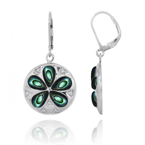 Coastal Earrings-Sand Dollar Lever Back Earrings with Abalone shell and White CZ-Coastal Passion