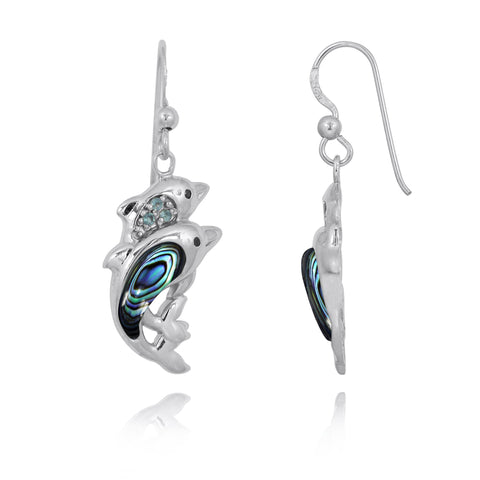 Coastal Earrings-Dolphin Drop Earrings with Abalone shell and Swiss Blue Topaz-Coastal Passion