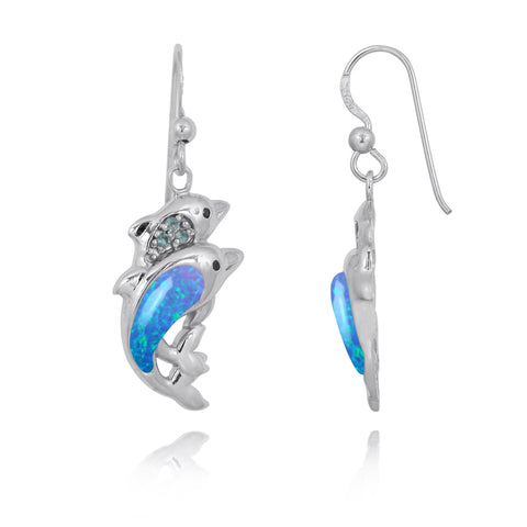 Coastal Earrings-Dolphin Drop Earrings with Blue Opal and Swiss Blue Topaz-Coastal Passion