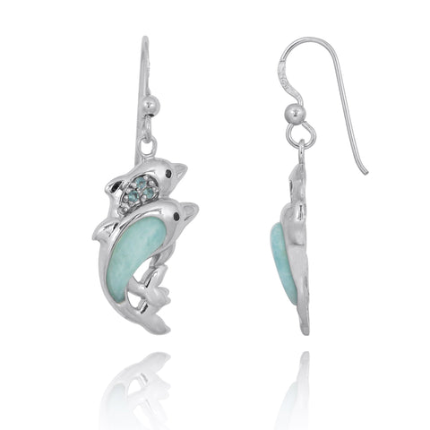 Coastal Earrings-Dolphin Drop Earrings with Larimar and Swiss Blue Topaz-Coastal Passion