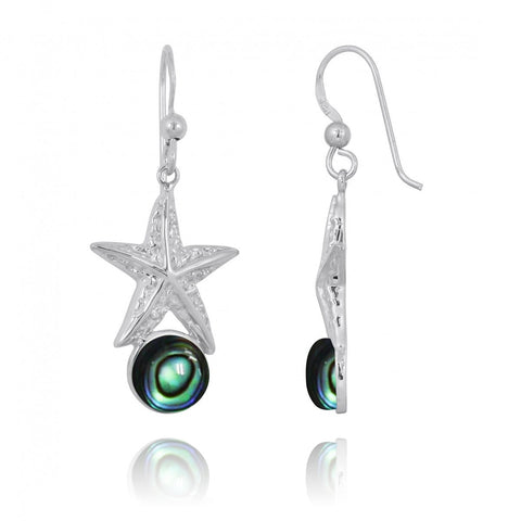 Coastal Earrings-Starfish French Wire Earrings with Round Abalone shell-Coastal Passion