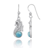 Coastal Earrings-Seahorse Drop Earrings with Larimar and CZ-Coastal Passion