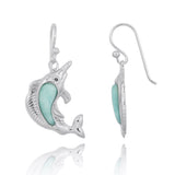 Coastal Earrings-Swordfish with Larimar and Black CZ French Wire Earrings-Coastal Passion