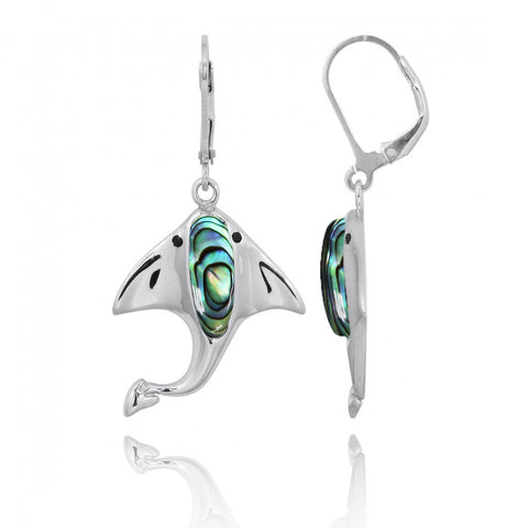 Coastal Earrings-Manta Ray with Abalone shell and Black Spinel Lever Back Earrings-Coastal Passion