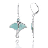 Coastal Earrings-Stingray with Larimar and Swiss Blue Topaz Lever Back Earrings-Coastal Passion