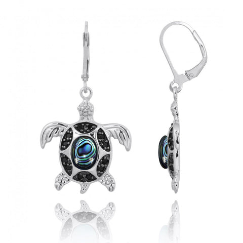 Coastal Earrings-Turtle with Abalone shell and Black Spinel Lever Back Earrings-Coastal Passion