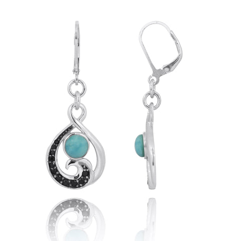 Coastal Earrings-Black Spinel Wave and Round Larimar Lever Back Earrings-Coastal Passion