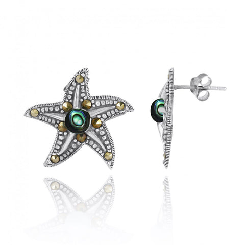 Coastal Earrings-Starfish Stud Earrings with Abalone shell and Marcasite-Coastal Passion