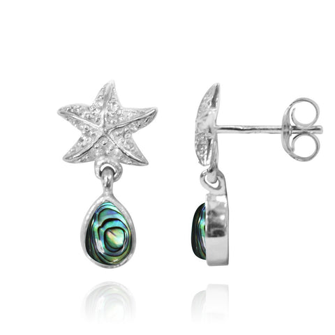 Coastal Earrings-Starfish Stud Earrings with Round Abalone shell and Teardrop White Topaz-Coastal Passion