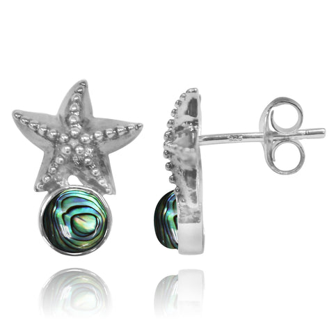 Coastal Earrings-Starfish Stud Earrings with Round Abalone shell-Coastal Passion