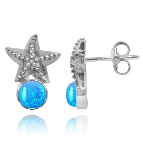 Coastal Earrings-Starfish Stud Earrings with Round Blue Opal-Coastal Passion