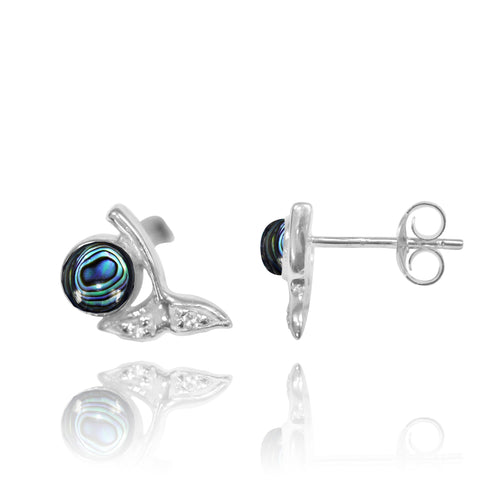 Coastal Earrings-Whale Tail Stud Earrings with Round Abalone shell and White Topaz-Coastal Passion