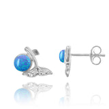 Coastal Earrings-Whale Tail Stud Earrings with Round Blue Opal and White Topaz-Coastal Passion