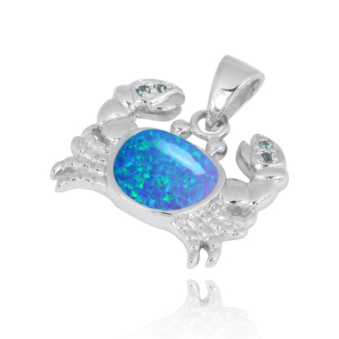 Coastal Pendant-Crab Pendant with Blue Opal and London Blue Topaz-Coastal Passion
