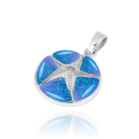 Coastal Pendant-Starfish with Crystal and Blue Opal Pendant-Coastal Passion