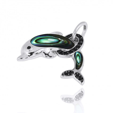 Coastal Pendant-Dolphin Pendant with Abalone shell and Black Spinel-Coastal Passion