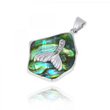 Coastal Pendant-Abalone shell Pendant with Whale Tail and White CZ-Coastal Passion