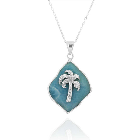 Coastal Pendant-Larimar Palm Tree Pendant Necklace-Coastal Passion
