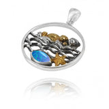 Coastal Pendant-Mother Otter with Golden Baby Oxidized Silver Pendant with Marquise Blue Opal and Gold Starfish-Coastal Passion
