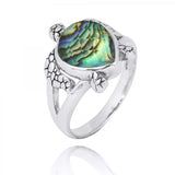 Coastal Ring-Turtle Ring with Teardrop Abalone shell-Coastal Passion