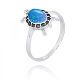 Coastal Ring-Turtle Ring with Blue Opal-Coastal Passion