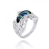 Coastal Ring-Dolphin Ring with Abalone shell and Black Spinel-Coastal Passion