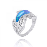 Coastal Ring-Dolphin Ring with Blue Opal and Black Spinel-Coastal Passion