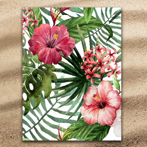 Coastal Beach Towel-Tropical Hibiscus Jumbo Beach Towel-Coastal Passion