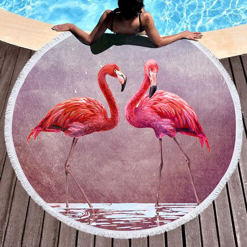 Ladies In Pink Round Beach Towel