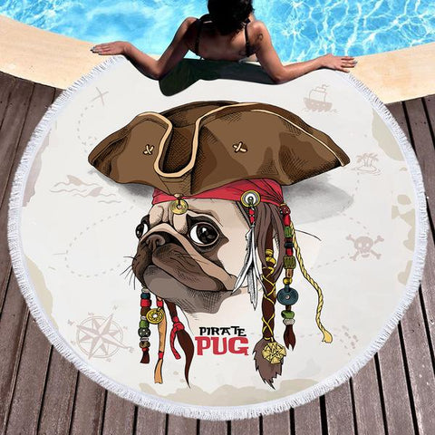 Pirate Pug Round Beach Towel