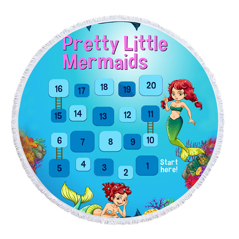 Pretty Little Mermaids - Baby Size 100 cm-Round Beach Towel-Australian Coastal Passion