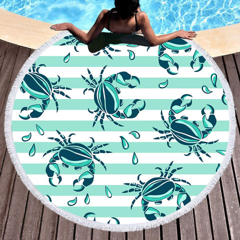Lovely Little Crabs Round Beach Towel-Round Beach Towel-Australian Coastal Passion