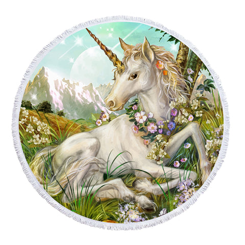 Unicorn Painting - Baby Size 100 cm-Round Beach Towel-Australian Coastal Passion